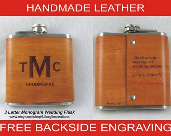 Set of 6 Personalized Flask for Groomsmen  Handmade Leather Flask - FREE Engraved Note on Backside