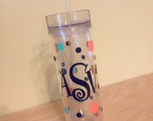 Personalized w/name acrylic tumbler, polka dots, Available in skinny, standard, sip top, sport bottle, mason, Vino2go