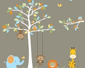 Wall Decal-Jungle Wall Decals with Monkey Giraffe Elephant-Nursery Vinyl Decal Set