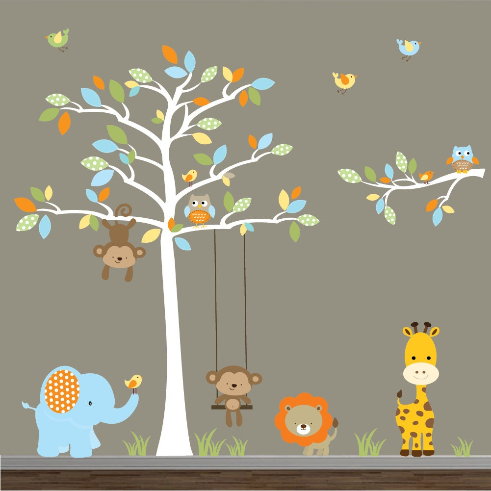 wall decal jungle wall decals with monkey giraffe. Black Bedroom Furniture Sets. Home Design Ideas