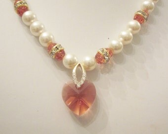 Swarovski Pearl and Crystal Necklace - Light Cream Rose Swarovski Pearls and Padparadscha Orange Crystal Heart - Wedding, Bride, Bridesmaids