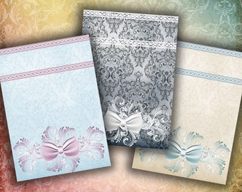 Shabby Chic & Grunge Damask Backgrounds - 18 ATC Cards for jewelry holders, tags - 2 Digital Collage Sheets - See Promo - Instant download