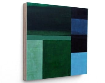 Test Pattern (Evergreen) -  mixed media abstract painting, spring, geometric