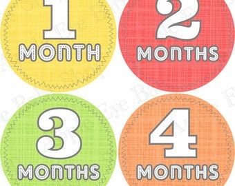 SALE 1st Year Monthly Baby Stickers FREE Monthly Bodysuit Sticker NEUTRAL Baby Boy-Girl Month Milestone Stickers  Red Green Orange Yellow