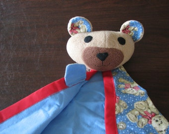 Security Blanket - American Bear - blue flannel - Clearance