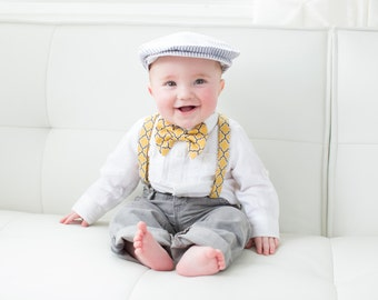 Ring bearer Outfit, Page Boy Outfit, Newsboy Hat, Suspender and Bow Tie Set for newborn, toddler and boys