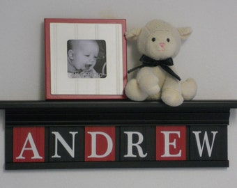 Baby Boy Gift Nursery Decor - Black Shelf with Personalized Wooden Wall Letters Painted Red and Black