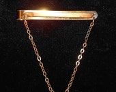 Vintage Giant Grip Chainklik-it Tie Bar with Chain Signed Gold-Tone Metal 1930s Cravat holder