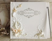 """Beach wedding guest book and pen 11""""x 10"""" or 6""""x8.5"""", hand decorated with starfish, seashells and pearls, wedding reception"""