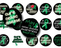 INSTANT Download Celiac Disease Awareness 1 inch circles digital collage sheet great for bottle caps and more BUY 3 get 1 FREE