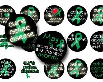 Celiac Disease Awareness 1 Inch Circles- Digital download-Bottle cap images-Digital collage sheet-Pendants- Magnets