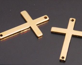 Sideways cross, Large size 14.6 X 22.5mm 14K gold filled cross links,  2 pcs pack