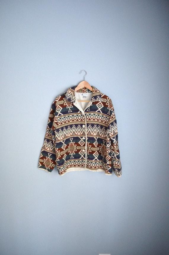 SALE Vintage 80s navajo Blue Burgundy Red Southwestern oversized tapestry jacket //  womens medium large