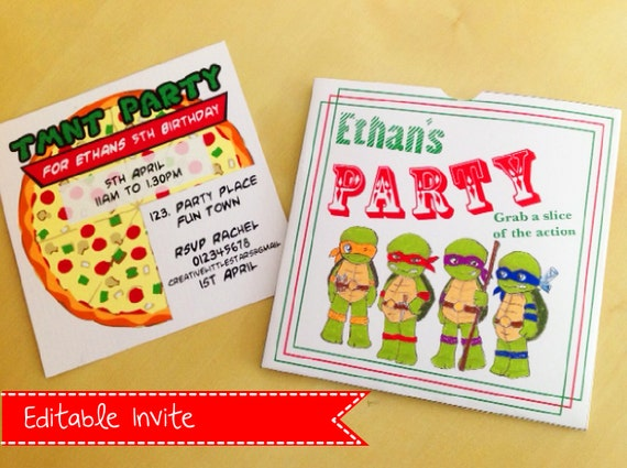 Teenage Mutant Ninja Turtles birthday Party Invitation - INSTANT DOWNLOAD - TMNT Inspired