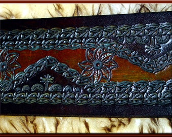 LEAF MANDALA  Design • A Beautifully Hand Tooled, Hand Crafted Leather Guitar Strap