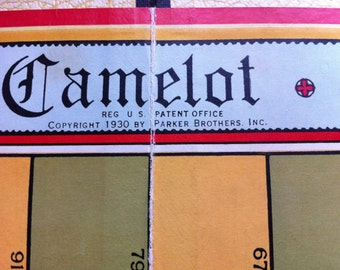 1955 Vintage CAMELOT Board Game Board, Instructions, Original Box and Ivoroid Playing Pieces Great Game