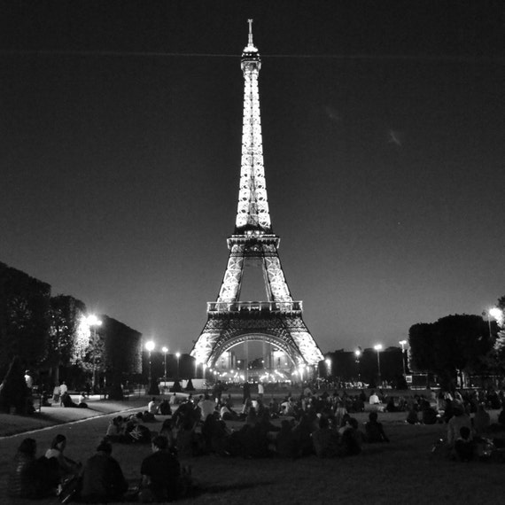 Items similar to Eiffel Tower at Night Paris Black and ...
