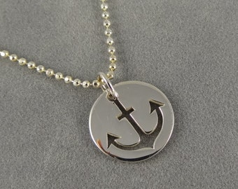 Sterling Silver Anchor Cutout Charm Necklace - Nautical Jewelry