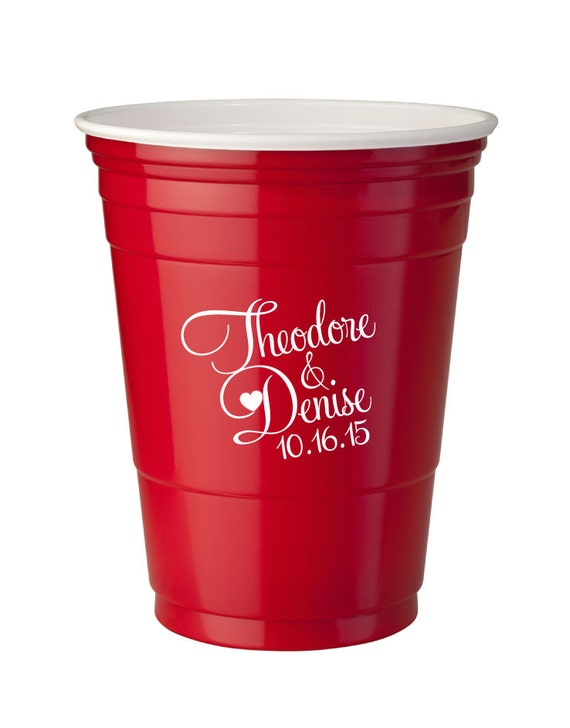 500 personalized 16oz red solo cups wedding favor bar