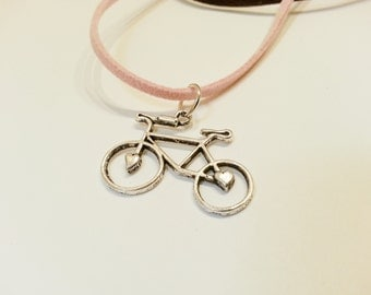 50% OFF - 1/2 PRICE - Bicycle Pendant Suede Corded Necklace - LNBIKE01