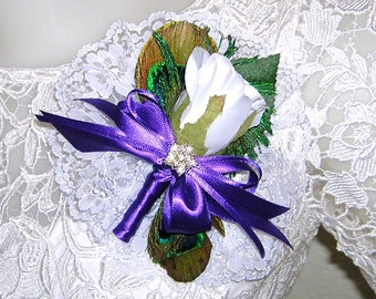 Peacock and White Rose Bud Corsage, Wrist Corsage or Lapel Corsage, Custom Colors Available
