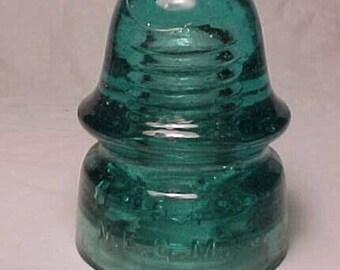 c1890-1900 N. E. G. M. Co. , Aqua Glass Electric Telegraph Telephone Insulator No. 3