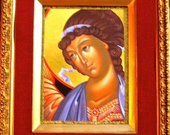 Take 20% Off Russian Orthodox Mary In Hand Painted Guilded Gold & Velvet Border Frame Wall Hanging