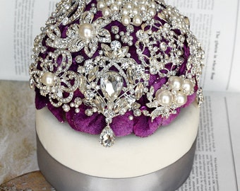 Luxury Vintage Bridal Brooch Bouquet Wedding Cake Topper - Pearl Rhinestone Crystal - Silver Purple Grey - CT008LX