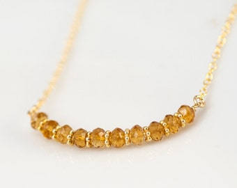 Yellow Citrine Necklace - November Birthstone Necklace - Gold Necklace - Wire wrapped Necklace - Minimalist Jewelry
