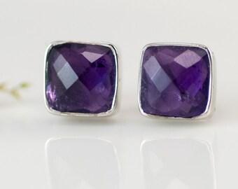 Purple Amethyst Stud Earrings - February Birthstone Studs - Gemstone Studs - Cushion Cut Studs - Silver Stud Earrings - Post Earrings