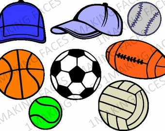 2 Ball Caps, Basketball, Soccer Ball, Baseball, Football, Tennis Ball, Sports Ball, SVG Cutting File Kit