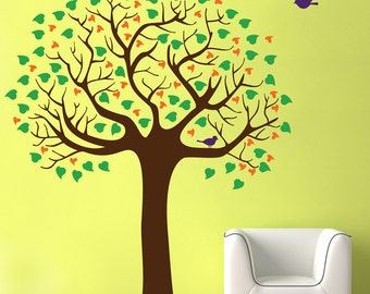 Wall Tree Decal, large Tree with leaves and birds, Nursery decal, boys girls room, kids  room playroom removable matte vinyl decal