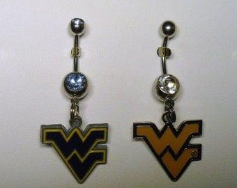 WVU West Virginia University BELLY Naval Ring, Choose Dark Blue or Clear CZ Gemstone, Blue or Gold Charm