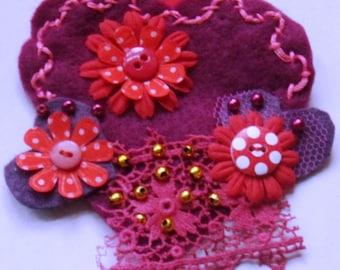 "Valentine Textile Brooch ""Beloved"""