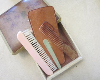 Vintage Good Luck Grooming Kit Brown Leather Case with Pink Brush, Comb & File Made in England Travel Kit