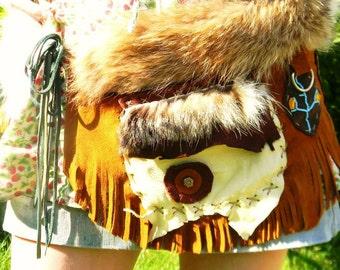 Custom Created Utility Belt:  w Medicine Pockets, Natural Furs, Buckskin