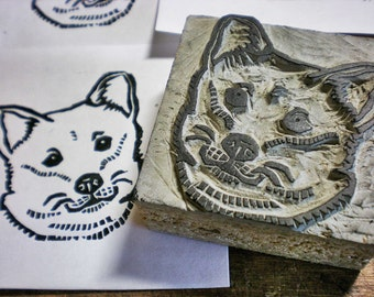 "Shiba Dog Stamp - 3"" x 4""  hand carved linoleum stamp"