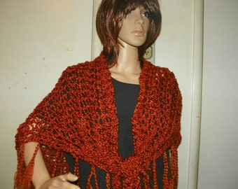 Silky Rust Brown Shawl Wrap   Hand Crochet