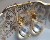 Bridal Earrings Flowers Delicate Gold Vermeil   Weddings Brides Bridesmaids Graduation Prom  Black Tie Quartz