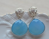 Earrings Blue Chalcedony Something Blue Baroque Inspired  Weddings Brides Bridesmaids Prom New Years EveBlack Tie Maid of Honor