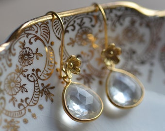 Bridal Earrings Flowers Delicate Gold Vermeil   Weddings Brides Bridesmaids Graduation Prom  Black Tie Quartz