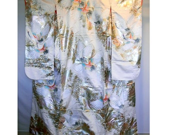 Vintage uchikake (a very formal kimono) - cranes and flowers on cream and silver