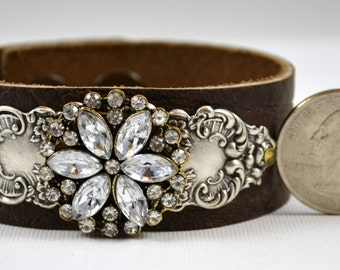 Reserved for Dana - Brown Leather Cuff Bracelet with Silver Stamping and Rhinestone Medallion - Vintage Inspired Handmade Jewelry