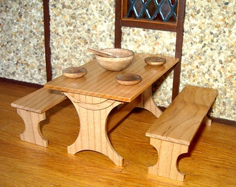 Trestle Table & Benches, Maple, Dollhouse Miniature 1/12 Scale, Hand Made in the USA