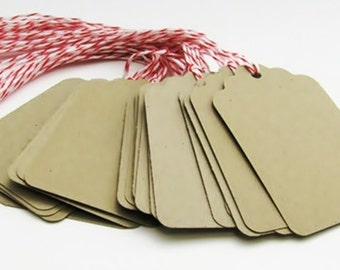 25 Kraft Scalloped hang tag, Hand punched hang tag