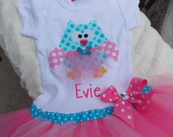EXCLUSIVE Ballerina Owl Applique Tutu Tshirt Dress for Children by Bubblebabys