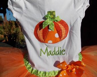 EXCLUSIVE Custom Pumpkin   Applique Tutu Tshirt Dress for Children by Bubblebabys