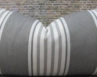 3BMODLIVING Designer Pillow Cover  -  10 x 20 -  Gray Denim Wide Stripe