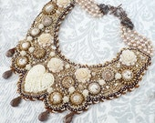 Roses and pearls bead embroidery,beaded,beadwork necklace with acrylic roses,freshwater pearls,keshi pearls,Toho ,SuperDuo,Preciosa beads. - Aillil