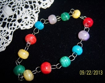 1950s Hand Made Art Glass Bead Bracelet